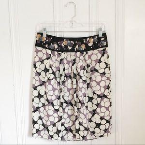 Anthropologie Floreat Silk Lilac Print Skirt 6